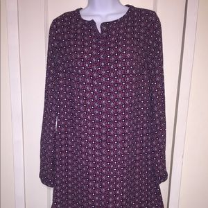 Merona Multicolor Long Sleeve Button Down Dress